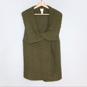 CHICO'S army green chunky knit vest size 3